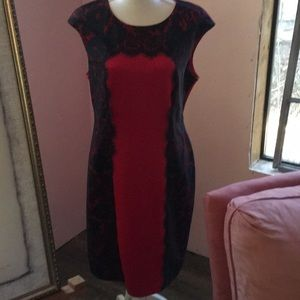 Red dress with blue lace accent. Size 12